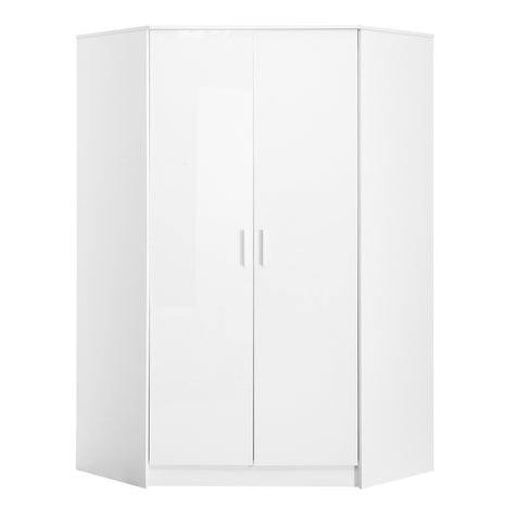 REFLECT High Gloss 2 Door Corner Wardrobe in White / Matt White - Online4furniture