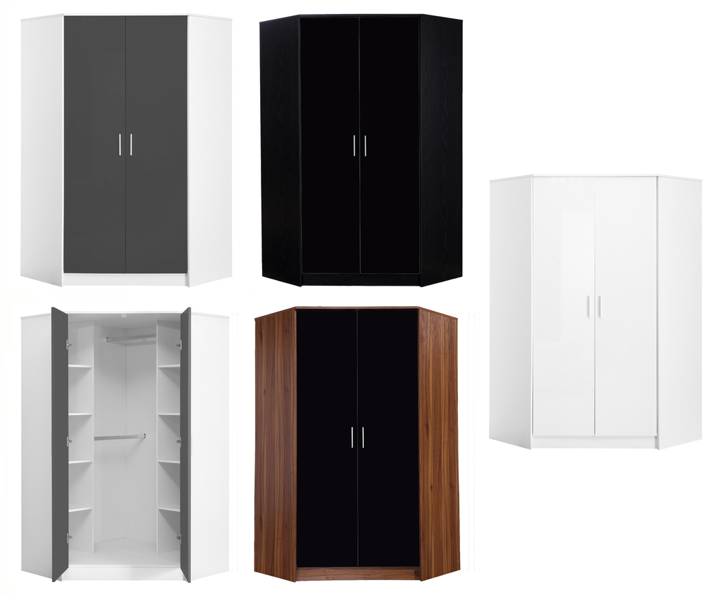 REFLECT High Gloss 2 Door Corner Wardrobe - 4 Colours - Online4furniture