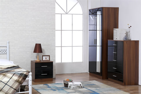 REFLECT SET High Gloss 2 Door Mirrored + Chest + Bedside (3 Piece Set) - 4 Colours - Online4furniture
