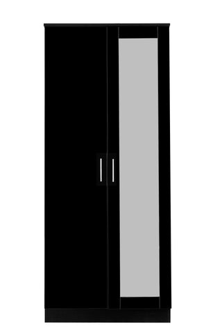 REFLECT High Gloss 2 Door Mirrored Wardrobe in Black / Black Oak - Online4furniture