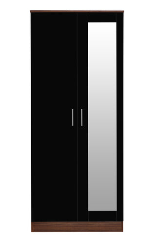 REFLECT High Gloss 2 Door Mirrored Wardrobe in Black / Walnut - Online4furniture