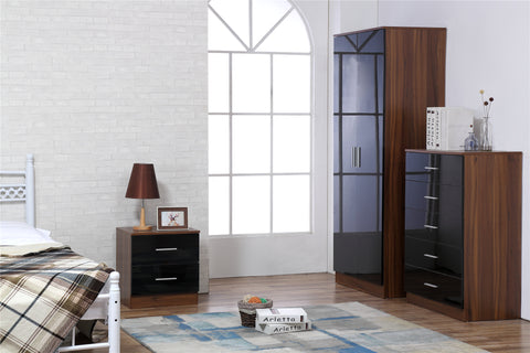 REFLECT SET High Gloss 2 Door Plain + Chest + Bedside (3 Piece Set) - 4 Colours - Online4furniture