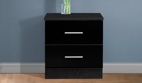 REFLECT High Gloss 2 Drawer Bedside in Black / Black Oak
