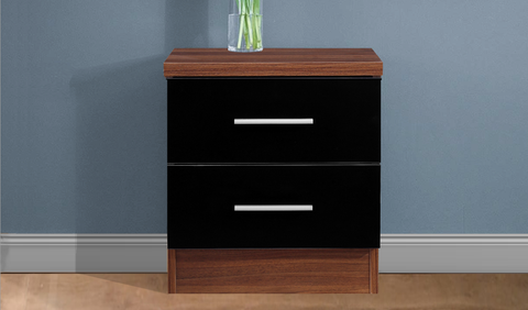 REFLECT High Gloss 2 Drawer Bedside in Black / Walnut