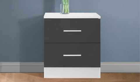 REFLECT High Gloss 2 Drawer Bedside in Grey / Matt White