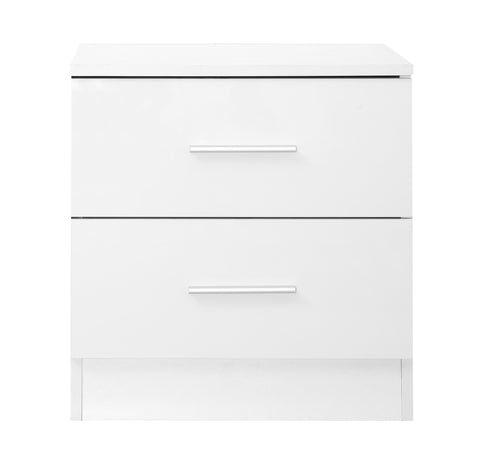 REFLECT High Gloss 2 Drawer Bedside in White / Matt White - Online4furniture