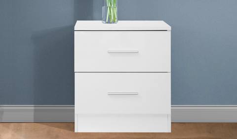 REFLECT High Gloss 2 Drawer Bedside in White / Matt White