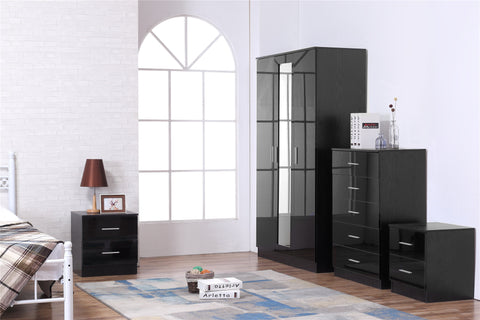 REFLECT SET High Gloss 3 Door Mirrored + Chest + Bedside (3 Piece Set) - 4 Colours - Online4furniture