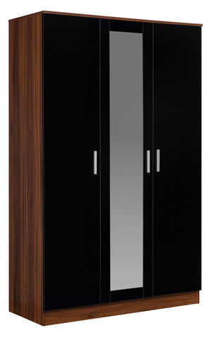 REFLECT - High Gloss 3 Door Mirrored Wardrobe - 4 Colours