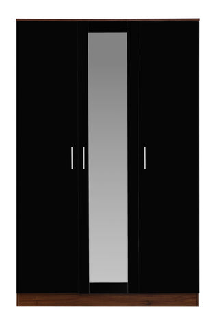 REFLECT High Gloss 3 Door Mirrored Wardrobe in Black / Walnut - Online4furniture