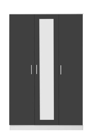 REFLECT High Gloss 3 Door Mirrored Wardrobe in Grey / Matt White - Online4furniture