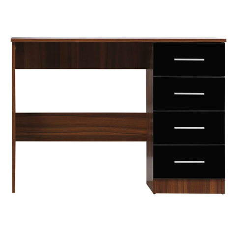 REFLECT High Gloss 4 Drawer Dressing Table / Desk in Black / Walnut - Online4furniture