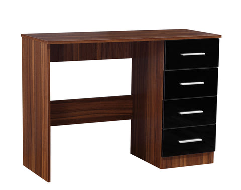 REFLECT High Gloss 4 Drawer Dressing Table / Desk in Black / Walnut