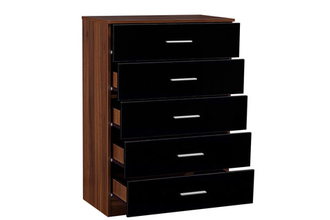 REFLECT High Gloss 5 Drawer Chest of Drawers in Black / Walnut - Online4furniture
