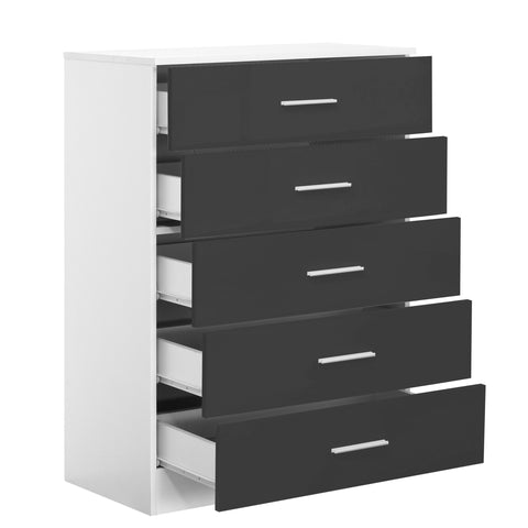 REFLECT High Gloss 5 Drawer Chest of Drawers in Grey / Matt White