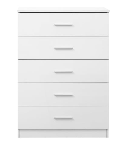 REFLECT High Gloss 5 Drawer Chest of Drawers in White / Matt White - Online4furniture