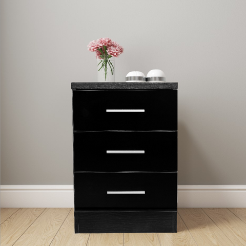 REFLECT XL High Gloss 3 Drawer Bedside in Black / Black Oak