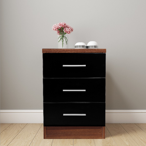 REFLECT XL High Gloss 3 Drawer Bedside in Black / Walnut