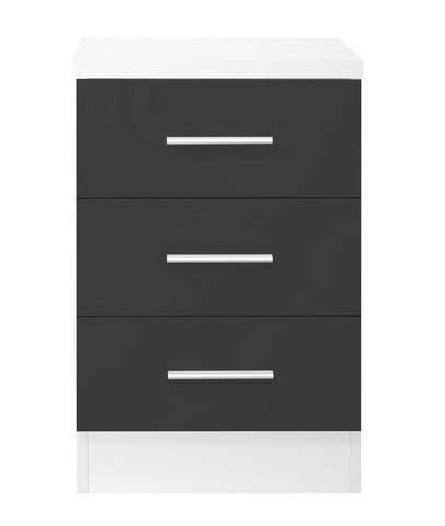 REFLECT XL High Gloss 3 Drawer Bedside in Grey / Matt White - Online4furniture