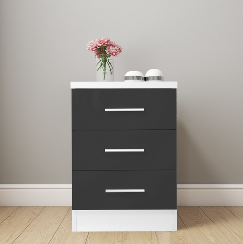 REFLECT XL High Gloss 3 Drawer Bedside in Grey / Matt White