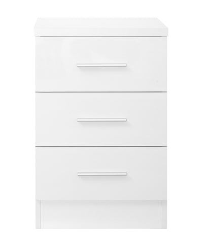 REFLECT XL High Gloss 3 Drawer Bedside in White / Matt White - Online4furniture
