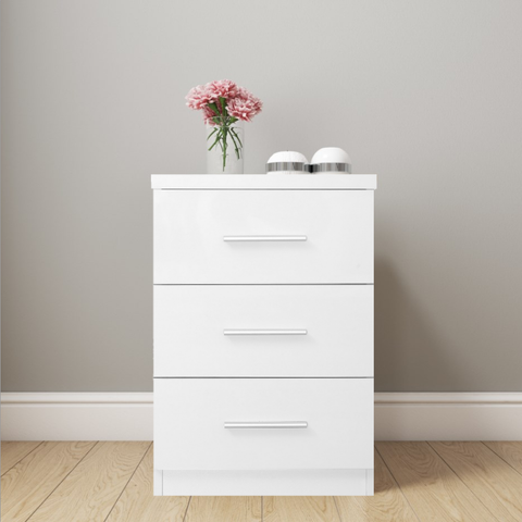 REFLECT XL High Gloss 3 Drawer Bedside in White / Matt White