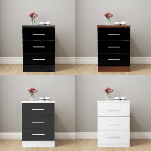 REFLECT XL - High Gloss 3 Drawer Bedside - 4 Colours