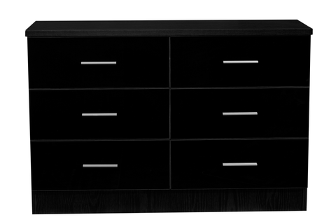 REFLECT XL High Gloss 6 Drawer Chest of Drawers in Black / Black Oak