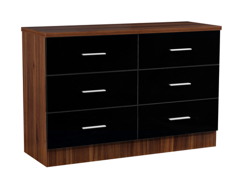 REFLECT XL High Gloss 6 Drawer Chest of Drawers in Black / Walnut