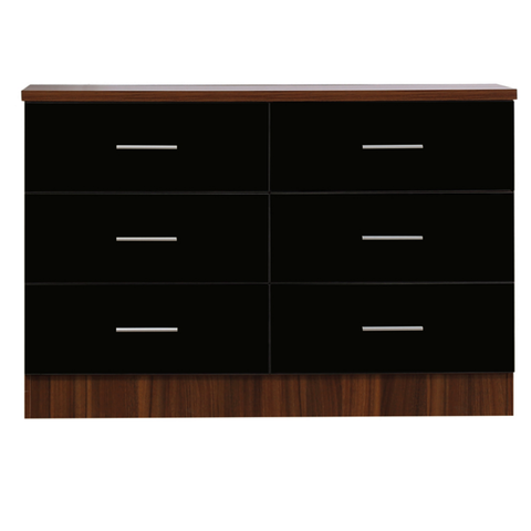 REFLECT XL High Gloss 6 Drawer Chest of Drawers in Black / Walnut - Online4furniture