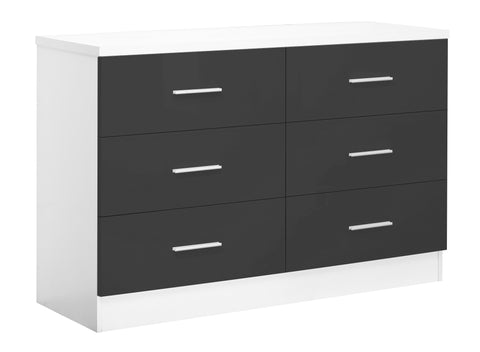REFLECT XL High Gloss 6 Drawer Chest of Drawers in Grey / Matt White