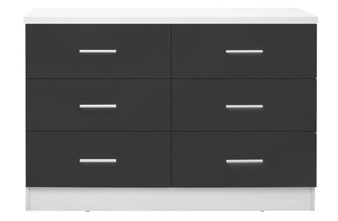 REFLECT XL High Gloss 6 Drawer Chest of Drawers in Grey / Matt White - Online4furniture