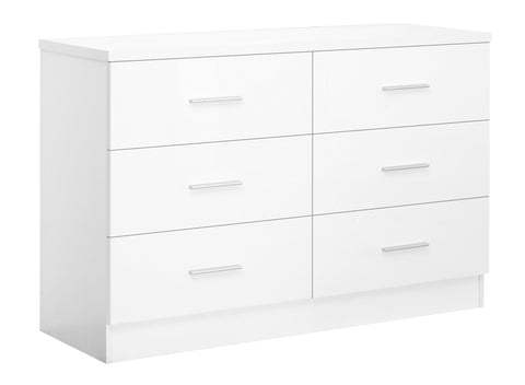 REFLECT XL High Gloss 6 Drawer Chest of Drawers in White / Matt White