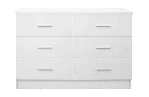REFLECT XL High Gloss 6 Drawer Chest of Drawers in White / Matt White - Online4furniture