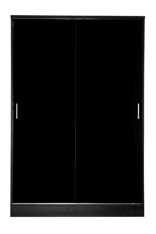 REFLECT XL High Gloss 2 Door Sliding Plain Wardrobe in Black / Black Oak - Online4furniture