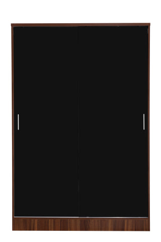 REFLECT XL High Gloss 2 Door Sliding Plain Wardrobe in Black / Walnut - Online4furniture