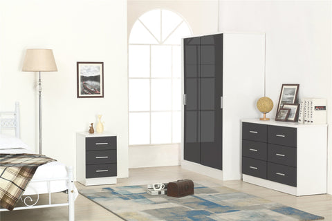 REFLECT XL SET High Gloss 2 Door Sliding Wardrobe + 6 Drawer Chest + 3 Drawer Bedside (3 Piece Set) - 4 Colours - Online4furniture