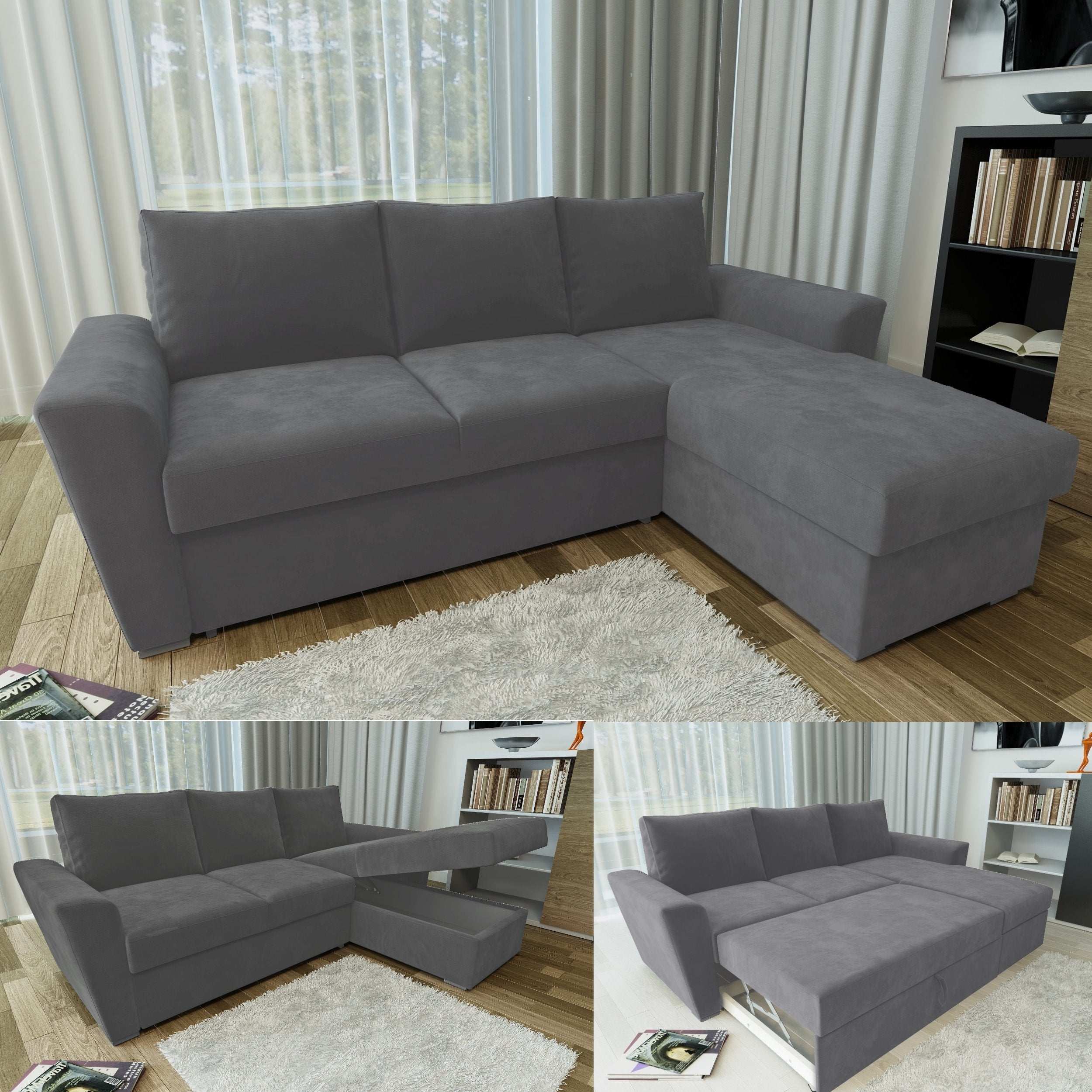 Picture of: Stanford L Shape Corner Sofabed With Storage In Charcoal Online4furniture Co Uk Online4furniture