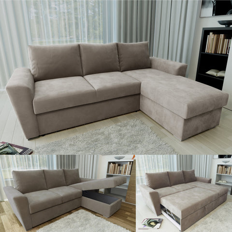 STANFORD L Shape Corner Sofabed with Storage in Taupe - Online4furniture