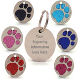 Personalised Engraved Glitter Paw Print Dog Tag