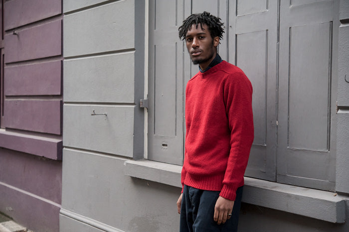 Albam Shetland Crew Knit in Red