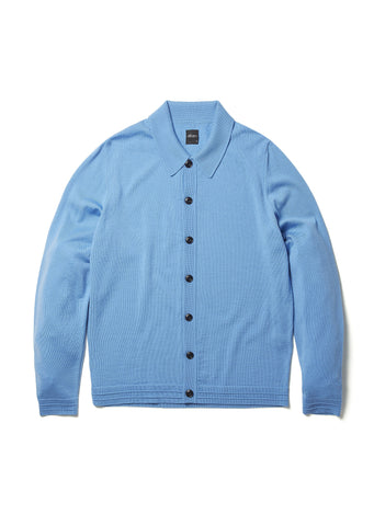 Merino Knitted Shirt in Sail Blue