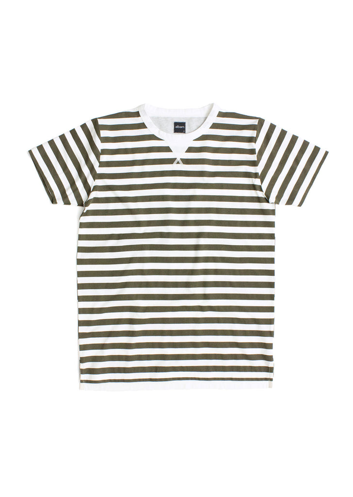 Ocean Multi Stripe T-Shirt in Olive
