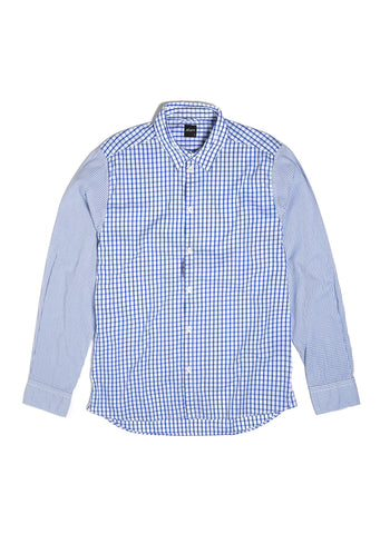 Windowpane Shirt in Blue Contrast