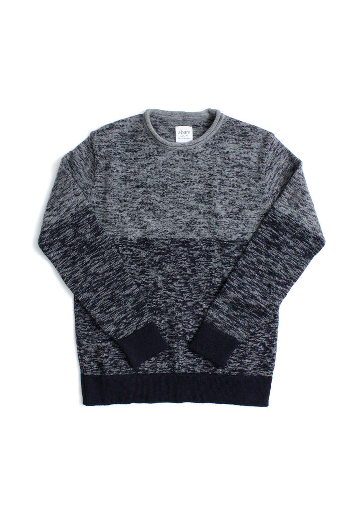 Fade Knit Crew in Navy
