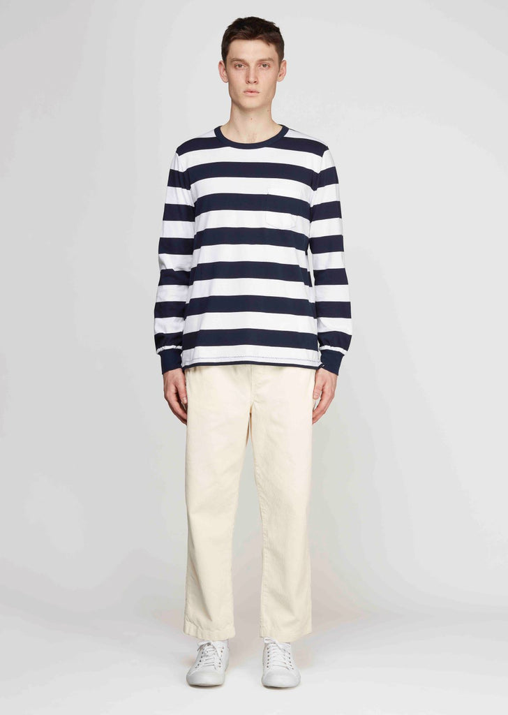 Wide Stripe Ls T-Shirt in Navy/White