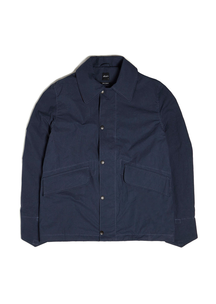 Washed Canvas Spray Coat in Navy/Red Orange
