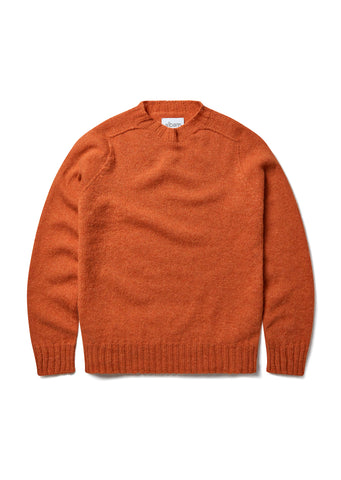 Seamless Shetland Crew in Burnt Orange