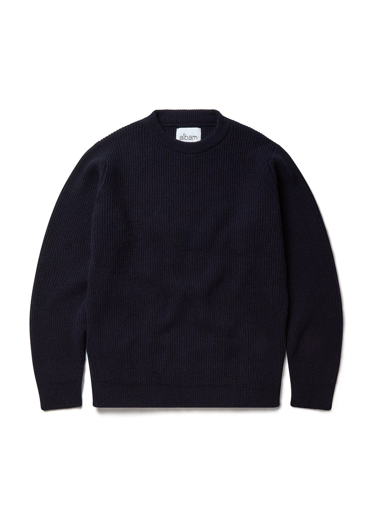 Ribbed Crew in Navy