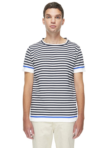 Stripe Sweat T-Shirt in Navy/White Stripe